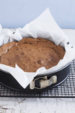 flourless chocolate cake: A Flourless Chocolate Cake on a Cooling Rack LANG_EVOIMAGES