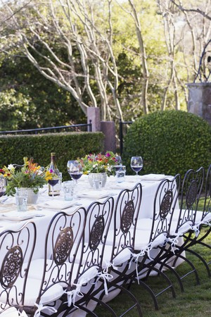 celebratory: A Table set for Dining Outdoors