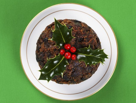 Christmas Pudding with holly (view from above)