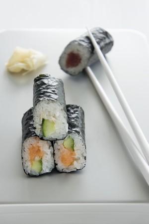 tunafish: Maki sushi with tuna, salmon and cucumber