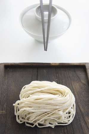soba noodles: Soba noodles and an eating bowl with chopsticks (Japan)
