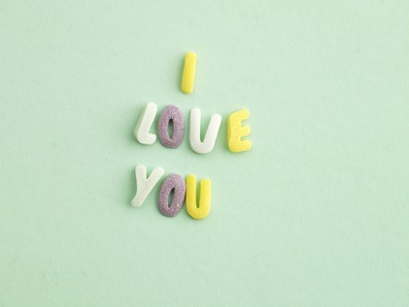 i l u: Alphabet sweets spelling out I LOVE YOU