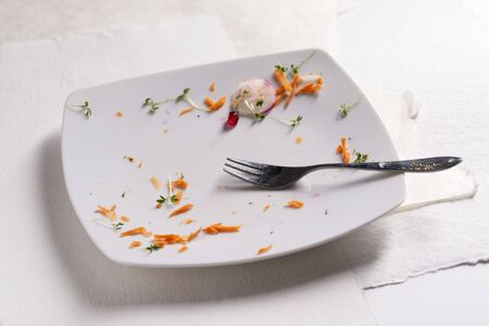 leavings: The remains of carrots and cress on a plate