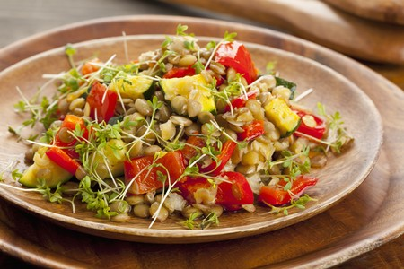 cocozelle: Lentil salad with grilled peppers, courgette and cress