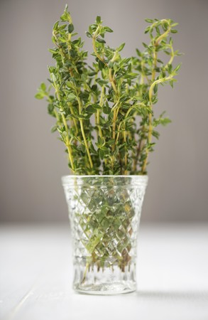 water thyme: Fresh thyme in a glass of water