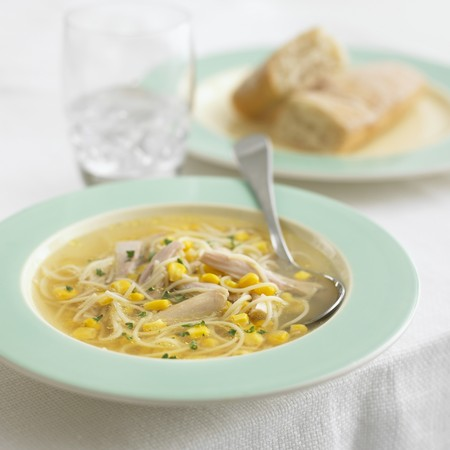 noodle soup: Chicken noodle soup with sweetcorn