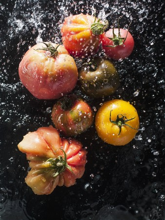 squirted: Tomatoes being sprayed with water
