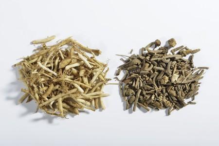 valerian: Tritato radice di valeriana, fresca e secca