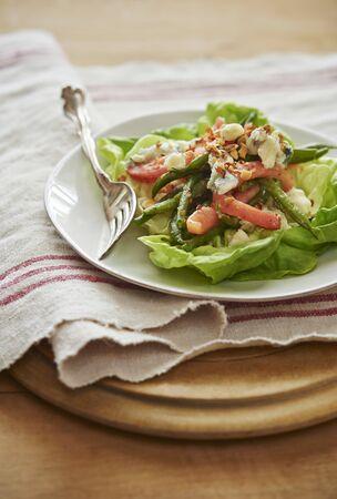 haricot vert: French Green Bean Salad, Haricot Vert, tomato, bib lettuce, roquefort salad,