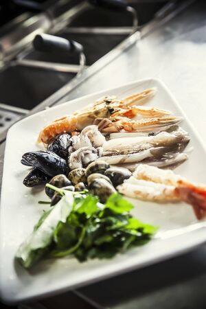 crustaceans: A still life featuring crustaceans, mussels and squid LANG_EVOIMAGES