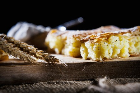 yufka: Bougatsa (breakfast pastry made from filo pastry and semolina pudding with cinnamon, Greece)