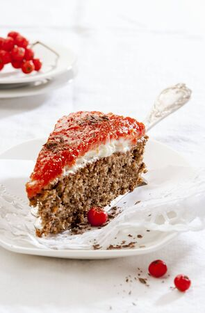 spice cake: A slice of spice cake with rowanberry glaze LANG_EVOIMAGES