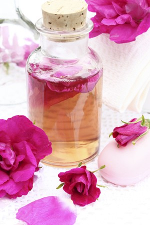 eau de perfume: Home-made rosewater (for bathing, as a fragrance)