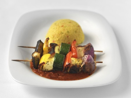 haloumi: Vegetable and halloumi skewers with couscous