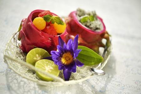 fruit salads: Fruit salads with melon and dragon fruit