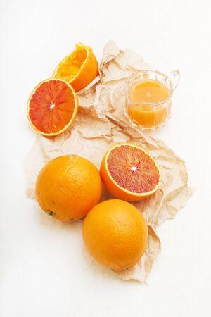halved  half: Sicilian half blood oranges: whole, halved and juiced