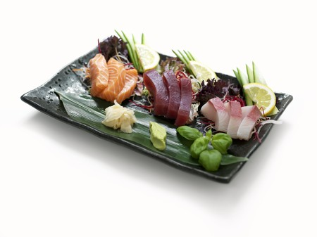 tunafish: Raw fish with ginger and wasabi paste