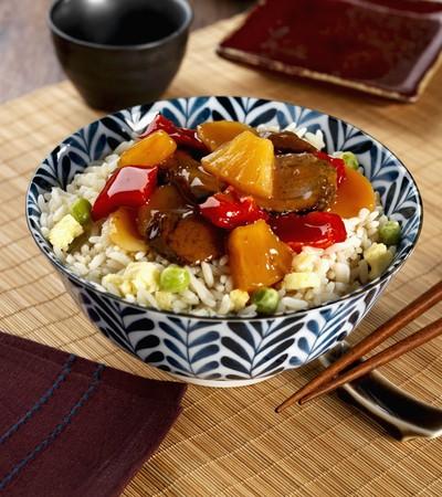 hoisin sauce: Egg fried rice with hoisin sauce, pineapple and vegetables (Asia)