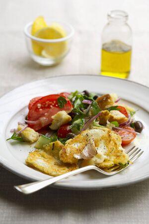 haloumi: Haloumi with panzanella (Italian bread salad)
