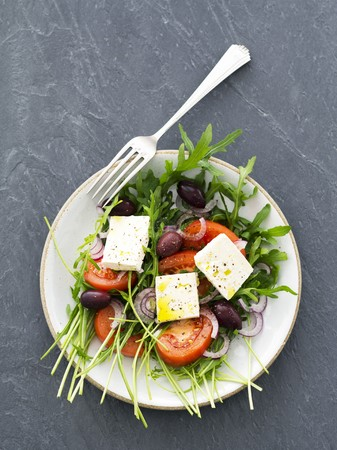 kalamata: Rocket salad with tomatoes, feta and kalamata olives