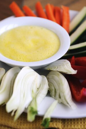 crudite: Spicy zabaglione dip with raw vegetables