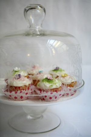 doiley: Spring cupcakes under a glass cloche