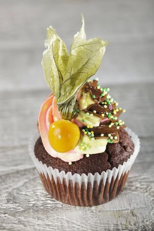 buttercream: A chocolate cupcake with buttercream, sugar sprinkels and a physalis LANG_EVOIMAGES