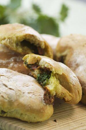 stinging nettle: Ciabatta with stinging nettle pesto and mozzarella