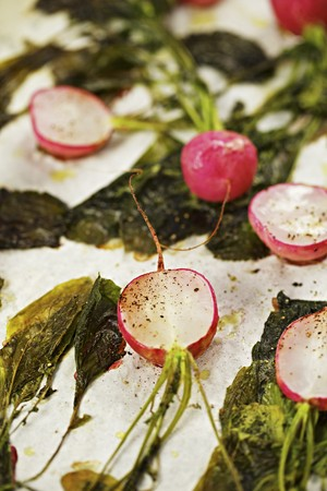 side order: Oven-roasted radishes