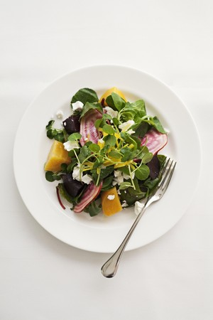 water cress: Beetroot and golden beet salad with watercress and goats cheese