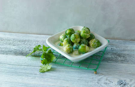 side order: Brussels sprouts in a creamy sauce