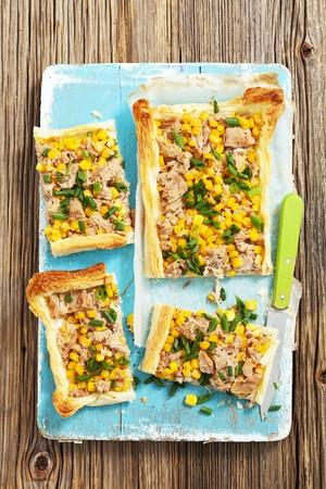 tunafish: Puff pastry tart with tuna and sweetcorn