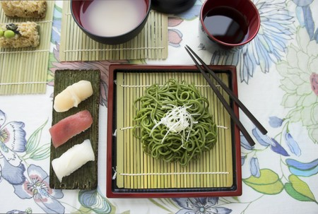 tunafish: Various types of sushi with wasabi noodles