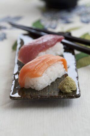 tunafish: Nigiri sushi with salmon and tuna