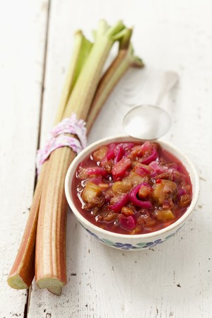 rhubarb: Rhubarb chutney with red onions, raisins, pink pepper, garlic and cumin