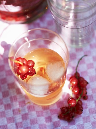 redcurrant: Redcurrant syrup with ice cubes