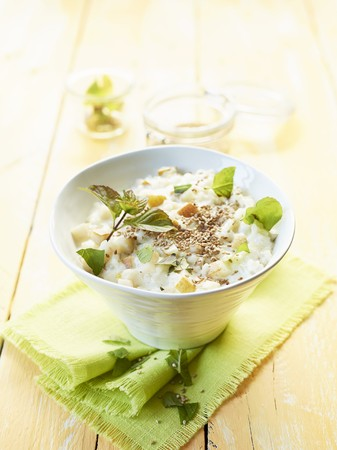 roasted sesame: Rice pudding with pears and roasted sesame seeds
