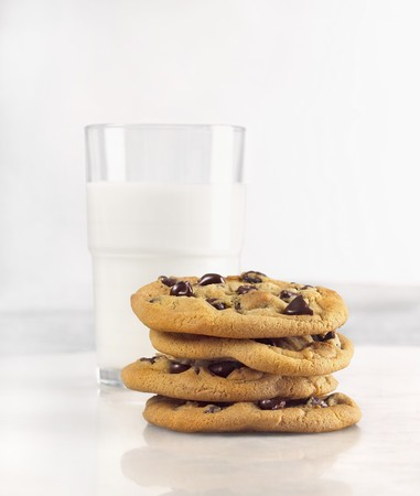 choco chips: Milk and Cookies; Stack of Chocolate Chip Cookies with Glass of Milk
