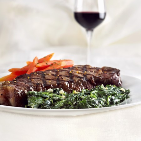 barbecues: Grilled Steak with Creamed Spinach and Carrots