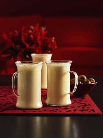 eggnog: Eggnog in three glasses