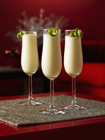 gin: Three glasses with Ramos Gin Fizz