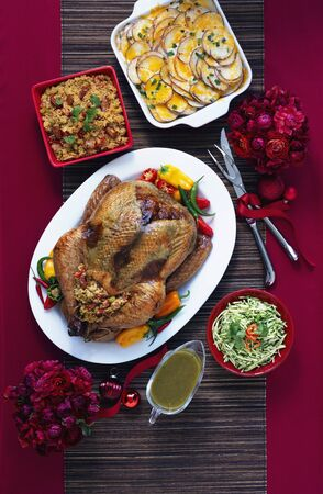 side dishes: Tex-Mex style roast turkey and side dishes (viewed from above)