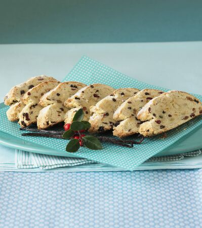 polka dotted: Sliced Stollen on a blue and white polka dotted serviette LANG_EVOIMAGES