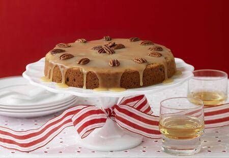 glazes: Banana pecan cake on a cake stand