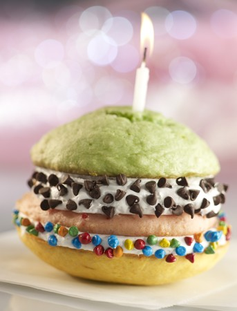 chocolate chips: Double Decker Birthday Whoopie Pie with Three Different Flavored Cakes and Chocolate Chips
