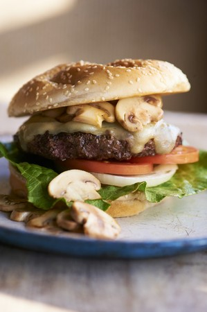 sesame seed bun: Swiss Cheese Burger with Mushrooms, Tomato, Onion and Lettuce on Sesame Seed Bun