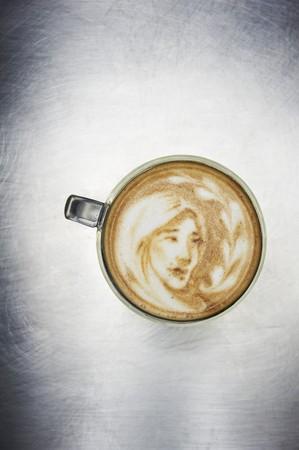 royalty free illustrations: Latte Art; Image of a Girl LANG_EVOIMAGES