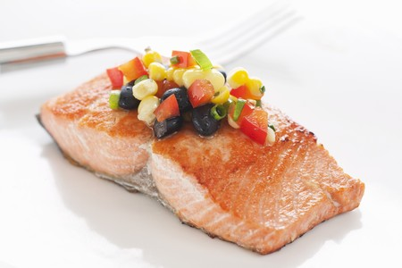 salmon fillet: Salmon Fillet Topped with Black Bean and Corn Salsa