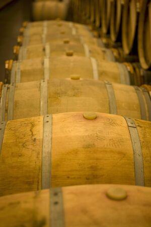 casks: Wooden barrels in a wine cellar (Chateau Lynch-Bages, Frankreich)