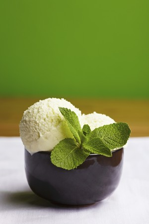 mint leaves: Two scoops of peppermint ice cream with fresh mint leaves